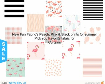 NEW Blush, peach and Black Valances , Cafe Curtain, Flamingo Curtains, Black striped Horizontal Striped Curtains , Pineapple curtain