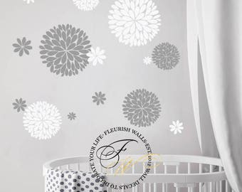 flower wall decal girls room wall decal flower decals for baby girl nursery decor