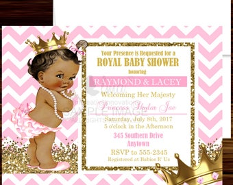 Royal Princess Baby Shower Invitation, Little Princess Invitation, Pink and Gold Invitation - Digital File or Printed