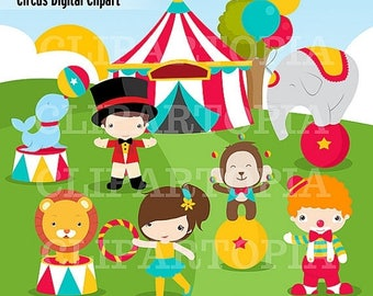 50% OFF SALE Circus Digital Clipart for Personal and Commercial use / INSTANT Download