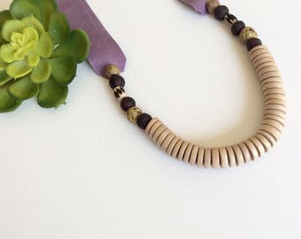 Tribal necklace, Ultra violet necklace, Boho necklace, Fun necklace, Long beaded necklace, Necklace for women