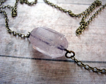 Faceted natural amethyst genuine stone raw brass long chain necklace