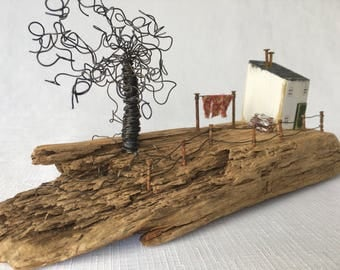 Driftwood art, Little wooden houses, Recycled wood, Washing, New Home gift, Gift for Mum, Little Houses, Coastal art, Unique home decor,