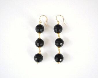 Faceted Black Vintage Bead 14K Gold Filled Dangle Earrings