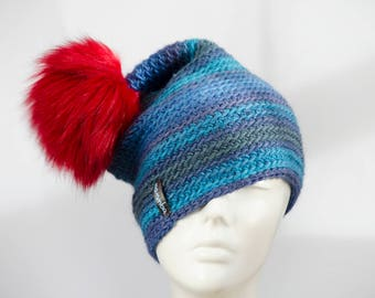Faux Fur Pom Pom Hat, knitted winter hat for women, colorful slouchy crochet hat, soft beanie, blue hat with red pom pom, Valentines day