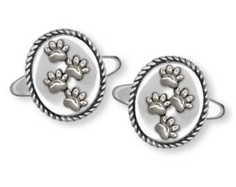 Dog Paw Cufflinks Jewelry Sterling Silver Handmade Dog Cufflinks PAW4-CL