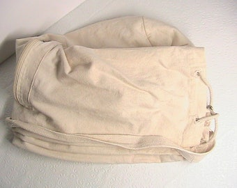 Laundry Bag, Vintage Cloth Canvas Drawstring, Shoulder Strap Laundry Bag