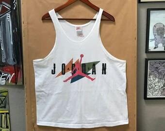 Vintage 90's Nike Air Jordan Tank Top Made in USA Michael Jordan Spike Lee Gray Tag Nike Oregon Just Do It