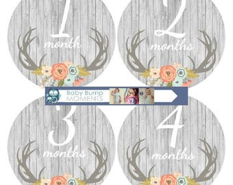 Girl Baby Month Stickers, Baby Month Signs,Monthly Milestone Stickers,Month Baby Stickers, Vintage Floral Deer Woodland,  Gifts for New Moms