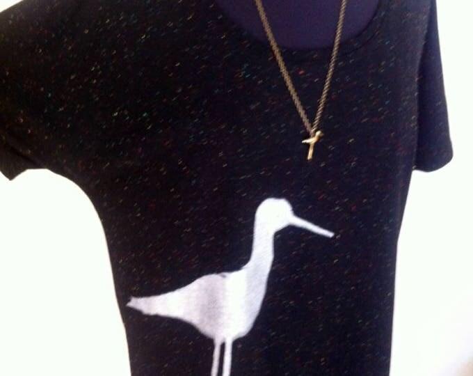 Bird print on super soft organic cotton comfy top, Stilt Bird - FREE shipping