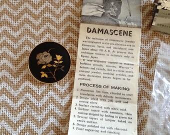 Vintage 1960s Amita Damascene brooch original packaging and insert Kyoto Japan Flowers