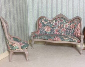 OOAK Vintage Set of 1/12th Scale Upholstered Sofa and Ladies Chair by Town Square