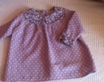 Purple polka dots and flowers size 3 months long sleeve dress