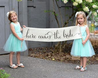 Wedding Banner // Here Comes the Bride // Flower Girl Sign // Rustic // Outdoor // Ring Bearer