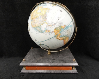RAND MCNALLY GLOBE -and Atlas - Display w Stand - Signature World Atlas Book