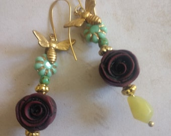 Floral and Gold earrings
