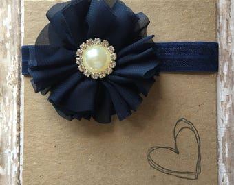 Shabby Flower and Rhinestone Headband - Ivory, Dusty Rose, Navy, Baby Headband