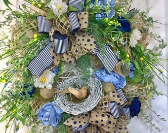 Blue and Yellow Everyday and Summer Mesh Door Wreath