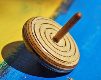 wooden spin top Spinning top Spiral in wood Large Hand Made Wooden Spiral Spinning top driedel spin top