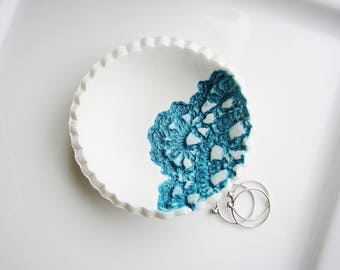 Teal Lace Ring Dish, Clay Ring Dish, Clay Jewelry Dish, Ring Dish, Catchall Dish, Jewelry Holder