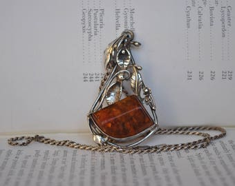 Vintage Sterling Amber Pendant - 1960s Art Nouveau Style Silver & Baltic Amber Necklace
