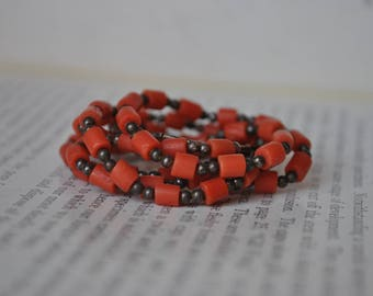 Vintage Pink Coral & Sterling Necklace - 1960s Sterling Genuine Coral Necklace