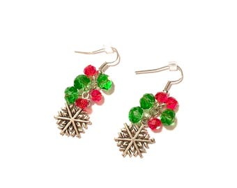 Earrings. Red and Green Snowflake Earrings. Christmas. Holiday.