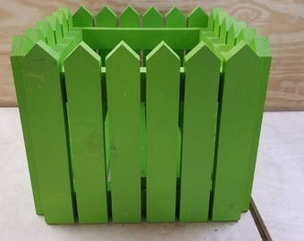 Handcrafted Picket Fence Planter - Green