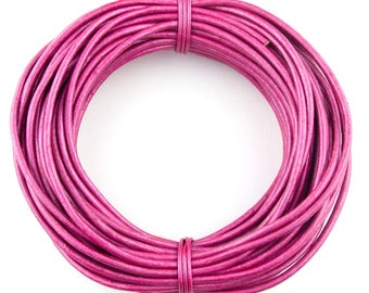 Pink Metallic Round Leather Cord 1 mm 100 meters (109 yards)