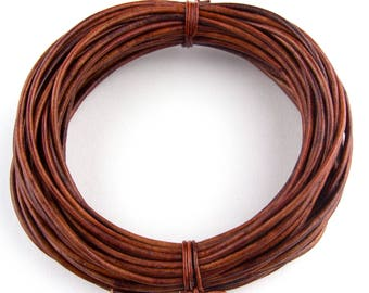 Brown Distressed Red Round Leather Cord 1mm 25 meters (27.34 yards)