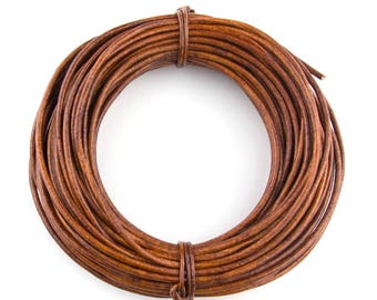 Brown Distressed Light Round Leather Cord 2mm 50 meters (54 yards)