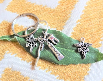 "DH or DA KEYCHAIN with tooth, toothpaste, toothbrush on heart - Read ""item details"" & see all photos - one flat rate shipping in my shop :)"