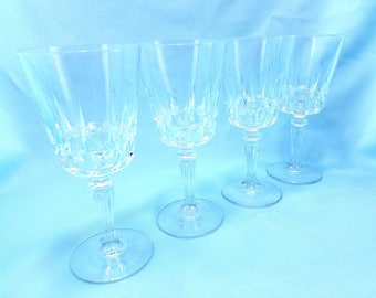 Crystal water goblets, in Esprit by Princess House, set of 4, wine goblets, stemware, drinking glasses