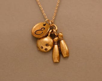 Bowling pin jewelry- Bowling ball and pin jewelry - Bowling pin and ball jewelry - sports jewelry - Custom gold bowling necklace pendant