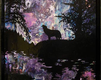 """Hand- painted, Mix media panel """"The Lone Wolf"""""""