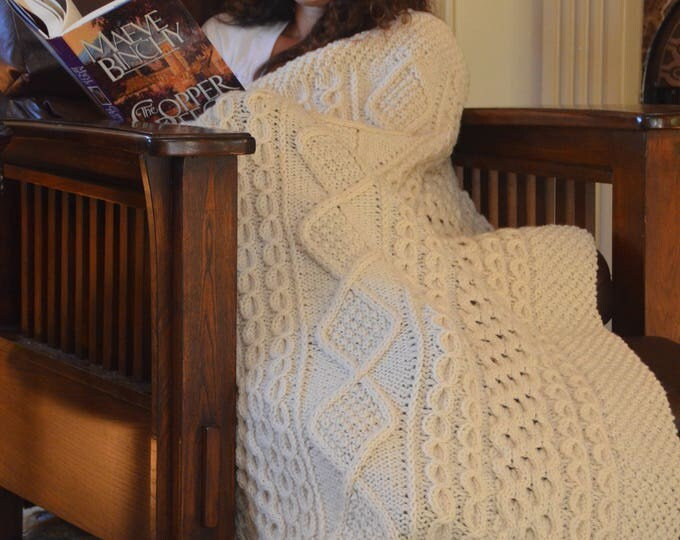 Irish Fisherman-Inspired Hand Knit Throw Blanket - MADE TO ORDER