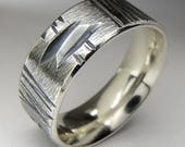 Mens Wedding Ring Sterling Silver Pattern Texture Scored Band 8mm Wide