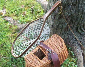 On Sale Now; 3-Ply Walnut/Ash handmade flyfishing net with a safety tether, scissor release snap and  choice of netting