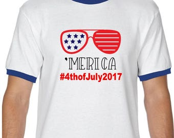Merica Shirt; Fourth of July; 4th of July shirt; Patriotic shirt; Ringer; Red White Blue; American