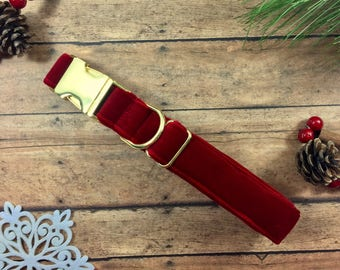 Velvet- Luxury, Dog Collar - Winter - Dog Gift - Pet Gift - Holiday - Red -Gift - Luxurious