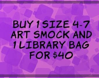 Choose any Size 4-7 Art Smock & any Library Bag