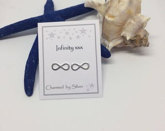 Sterling Silver Infinity stud Earrings with Message