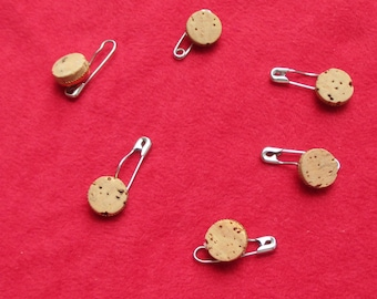 Lot Of Vintage Cork & Metal Buttons On Safety Pins
