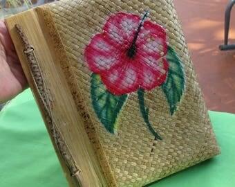 Retro Hawaii Souvenir  Hibiscus Bamboo Island Paper Photo Album