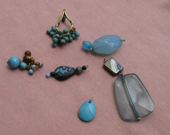 Lot Of  Salvaged Blue Beaded Dangles