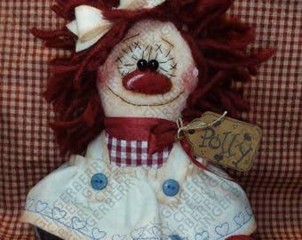 Lil' Lolli Polly Pattern #265 - Primitive Doll Pattern - Raggedy - Tattered - Lollipop - Summer - Sweet - Shelf Sitter - Fiber Art