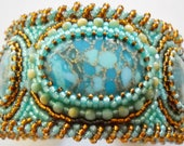 Blue and topaz Bead Embroidered Cuff
