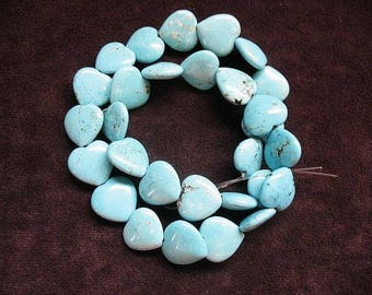 Natural Himalayan Turquoise Bead Strand 14.5x15mm, Natural Turquoise Beads, Heart shaped Turquoise beads
