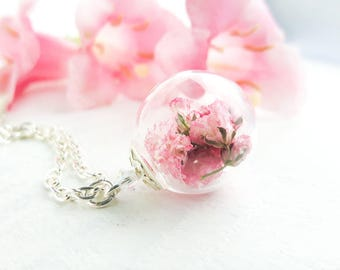 Pink Flower Necklace, Real Flower Necklace, Babys Breath Necklace,  Bridesmaid Gift, Botanical Jewelry, Terrarium Necklace, Gift for Her