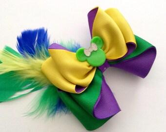Mardi Gras Minnie Hair Bow.